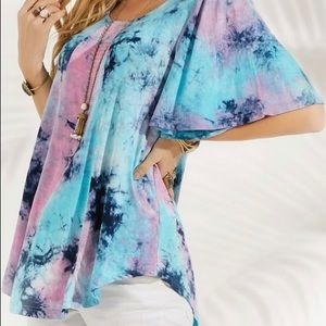 Blue & Pink TieDye Top/Tunic Fluted Sleeve Size 3X